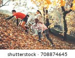 group of young friends jogging... | Shutterstock . vector #708874645