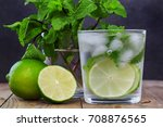 glass water with mint  ice ... | Shutterstock . vector #708876565