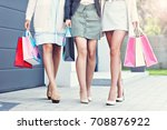 happy group of friends shopping ... | Shutterstock . vector #708876922