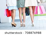 happy group of friends shopping ... | Shutterstock . vector #708876988