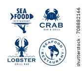seafood related labels badges... | Shutterstock .eps vector #708882166