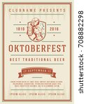 oktoberfest beer festival... | Shutterstock .eps vector #708882298