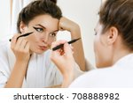 young woman is disappointed... | Shutterstock . vector #708888982