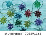 garland with snowflakes on the... | Shutterstock . vector #708891166