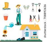 garden tools isolated on white... | Shutterstock .eps vector #708892636