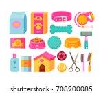 dog stuff set isolated on white ... | Shutterstock .eps vector #708900085