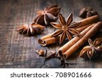 traditional christmas spices  ... | Shutterstock . vector #708901666