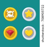icons of gold and silver coins  ... | Shutterstock .eps vector #708905722