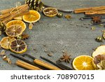 dried dessert spices and golden ... | Shutterstock . vector #708907015