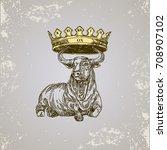 chinese horoscope. ox. sketch... | Shutterstock .eps vector #708907102