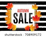 shiny autumn leaves sale banner.... | Shutterstock .eps vector #708909172