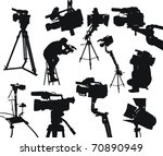 camcorders and cameramen on... | Shutterstock .eps vector #70890949