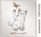 romantic vintage birthday card... | Shutterstock .eps vector #708914332