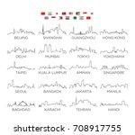asia skyline city line art ... | Shutterstock .eps vector #708917755