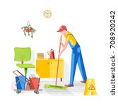 cleaning of office. cleaning... | Shutterstock .eps vector #708920242