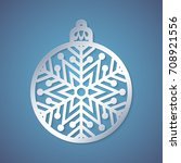 christmas ball with a snowflake ... | Shutterstock .eps vector #708921556