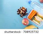 school lunch box with sandwich  ... | Shutterstock . vector #708925732