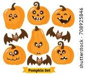 halloween funny pumpkin vector... | Shutterstock .eps vector #708925846