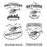 set of helicopter logo  badges... | Shutterstock .eps vector #708930238