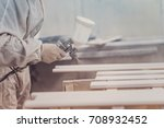 man painting furniture details. ... | Shutterstock . vector #708932452