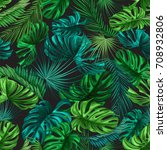 seamless pattern of tropical... | Shutterstock .eps vector #708932806
