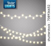 christmas lights isolated on... | Shutterstock .eps vector #708936652