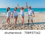group of young boys enjoying on ... | Shutterstock . vector #708937162