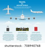 travel airplane outdoor with... | Shutterstock .eps vector #708940768
