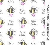 bee in love  vector seamless... | Shutterstock .eps vector #708944932