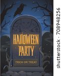 halloween vector illustration...   Shutterstock .eps vector #708948256