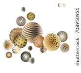 gold with mother of pearl balls.... | Shutterstock .eps vector #708950935