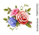 flowers. vector realistic hand... | Shutterstock .eps vector #708951952