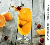 glass of fruit cocktail drink...   Shutterstock . vector #708961672