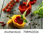 delicious bloody mary cocktail... | Shutterstock . vector #708962026