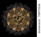 diwali om symbol with mandala.... | Shutterstock .eps vector #708970336