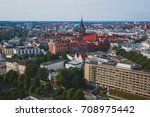 Stock photo beautiful super wide angle summer aerial view of hannover germany lower saxony seen from 708975442