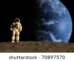 The Astronaut On A Background...