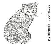 cat. design zentangle. hand... | Shutterstock . vector #708986398