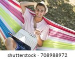 man in the hammock with the...   Shutterstock . vector #708988972