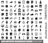 100 artistic guidance icons set ... | Shutterstock .eps vector #708992506