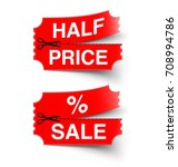 set of red price tags on white ... | Shutterstock .eps vector #708994786