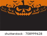 halloween party background with ... | Shutterstock .eps vector #708999628