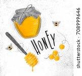 illustrated elements honey... | Shutterstock . vector #708999646
