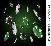 poker chips stack in black... | Shutterstock .eps vector #709007725