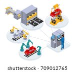 automated production line under ... | Shutterstock .eps vector #709012765