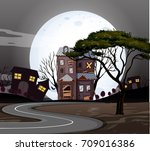 haunted houses on the road at... | Shutterstock .eps vector #709016386