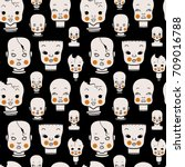 creepy vintage dolls pattern | Shutterstock .eps vector #709016788