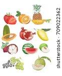 vector set of fruit for... | Shutterstock .eps vector #709022362