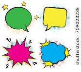 set of empty retro colorful... | Shutterstock .eps vector #709023238