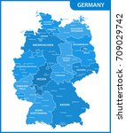 the detailed map of the germany ... | Shutterstock .eps vector #709029742